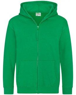 Grön barn zip-hoodie med eget tryck