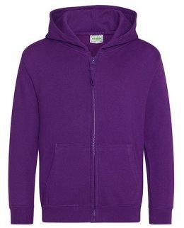 Lila barn zip-hoodie med eget tryck