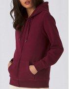 Zip-hoodies med eget tryck i olika modeller för dam.